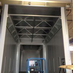Metal framework of unfinished spray booth