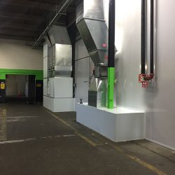 Air ducts and equipment on outside of spray booth