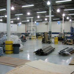 Large warehouse where spray booths are assembled