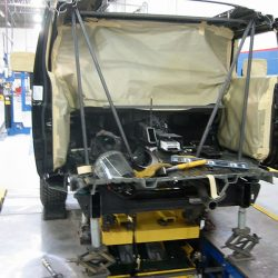 Limo frame with tan tape covering window