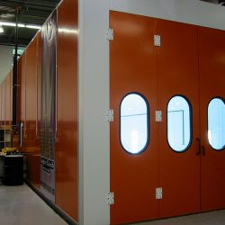 Side view of spray booth showing its depth