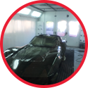 Circular photo of car painted black