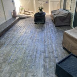 Wood Plank Stamped Patio