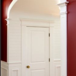 Contrasting burgundy and white interior painting in a South Carolina home!