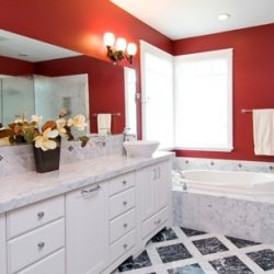 Bright red interior painting to give this bathroom a look that can't be beat!