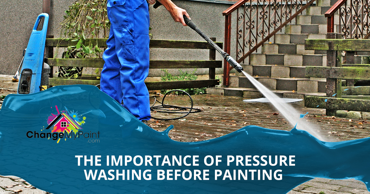 "An image of a man pressure washing a patio with the words ""the importance of pressure washing before painting"""