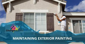 "A blog banner for ""maintaining exterior painting"""