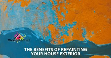 "A blog banner for ""The benefits of repainting your house exterior"""
