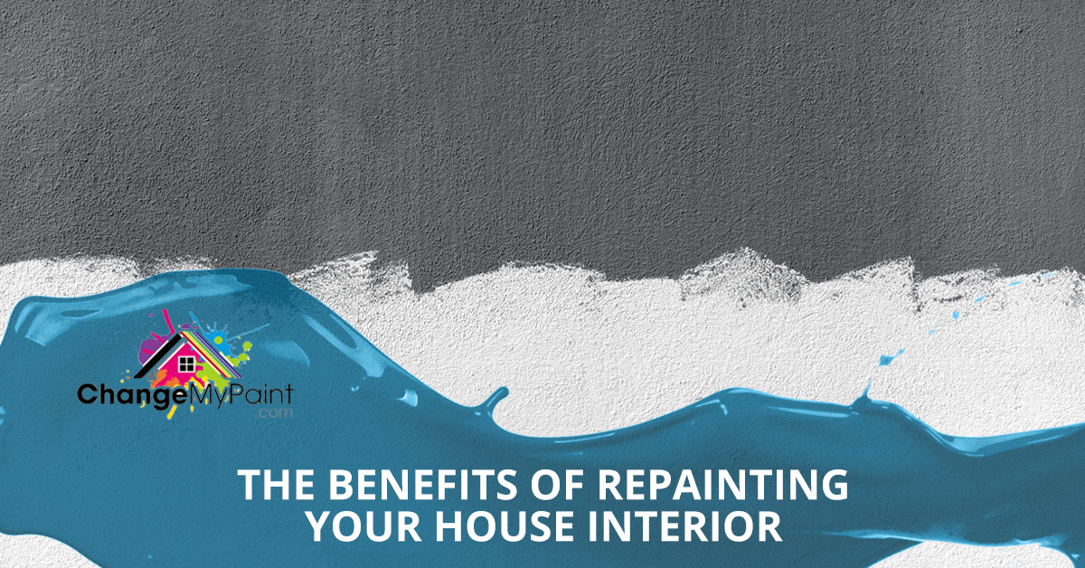 """A blog banner for """"the benefits of repainting your house interior"""""""