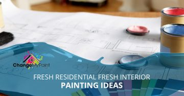"""A blog banner for """"fresh residential interior painting ideas"""""""