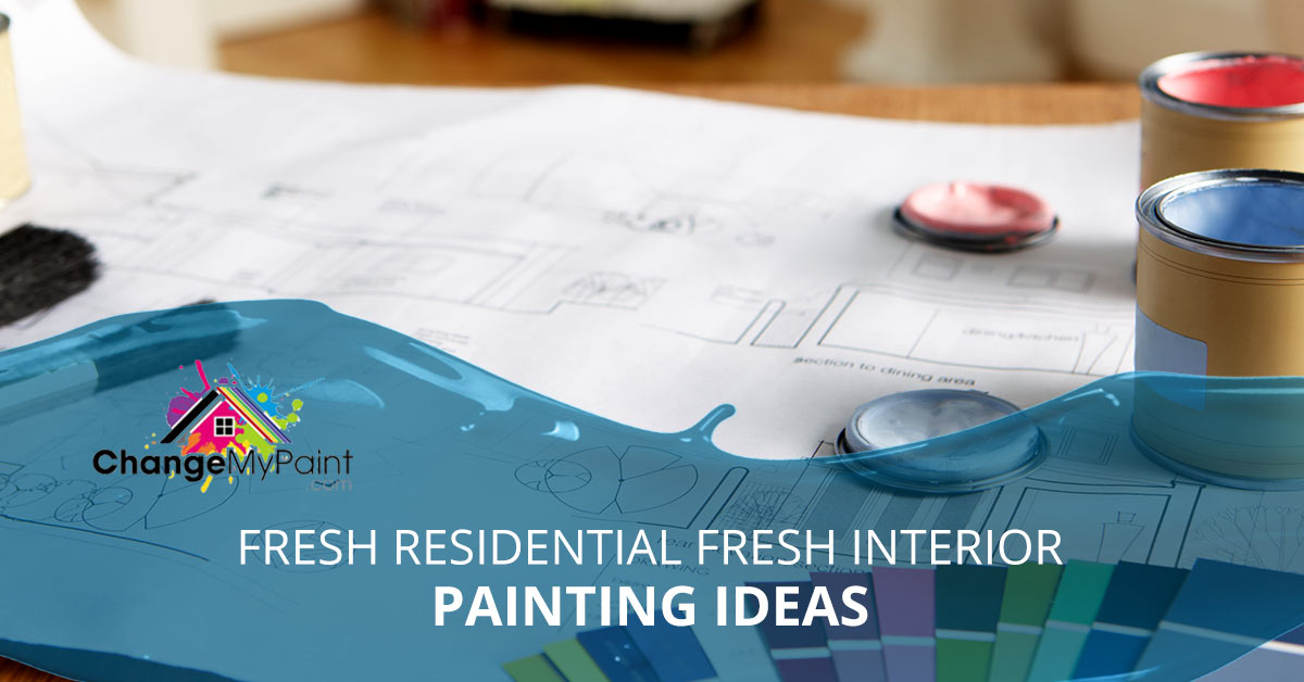 "A blog banner for ""fresh residential interior painting ideas"""