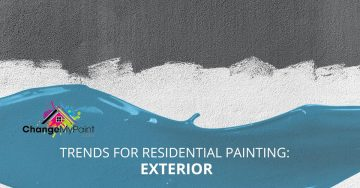 "The words ""trend for residential painting: exterior"" over a picture with white paint on a black surface"