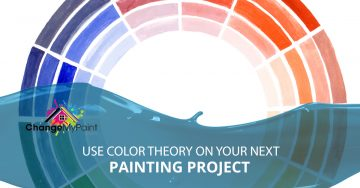 """use color theory on your next painting project"" around a color wheel"