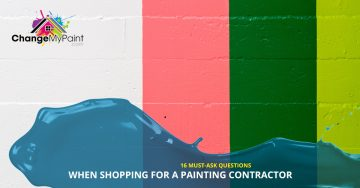 """""""16 must-ask questions when shopping for a painting contractor"""" is overlaid a on a wall painted with three colors"""