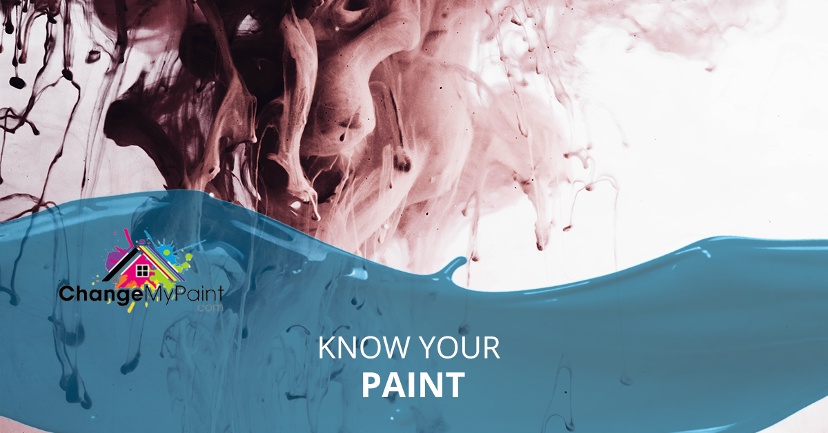 The words know your paint is overlaid a picture of paint mixing in water.