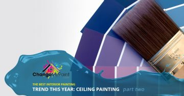 "The words ""The best interior painting trend this year: ceiling painting part two"" is overlaid from on a picture of a paint brush in front of purple paint chips"
