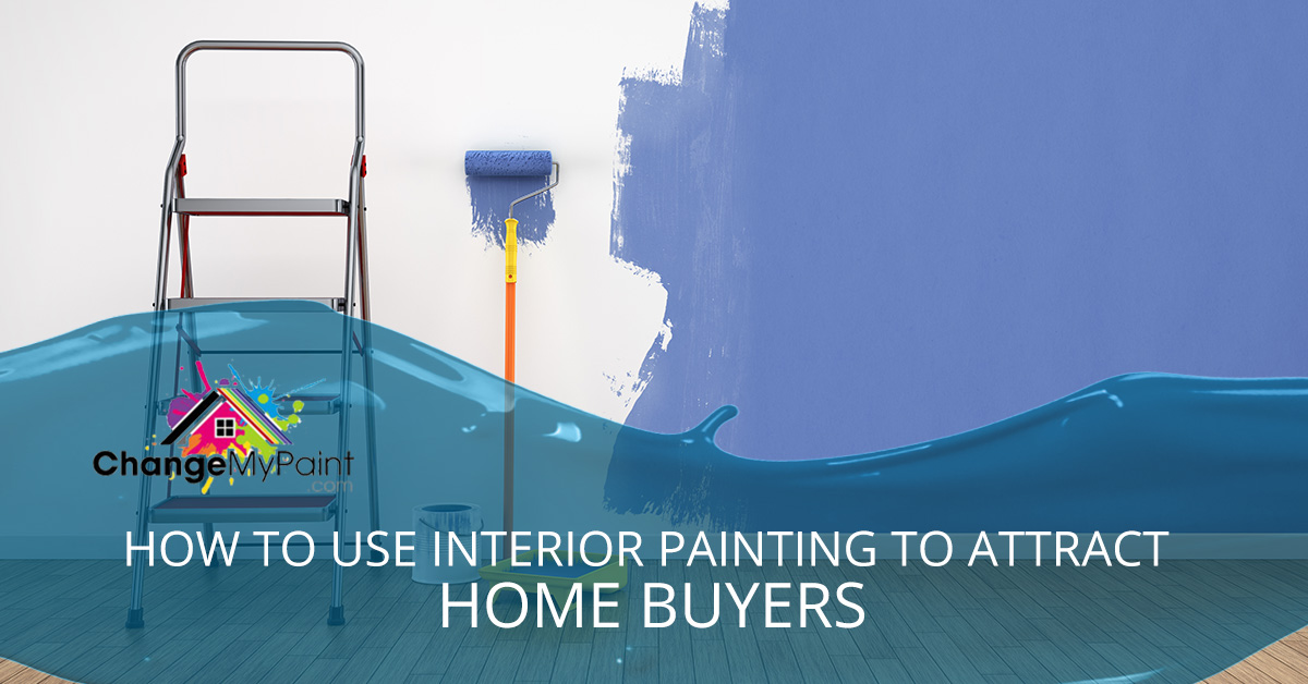 "The words ""how to use interior painting to attract home buyers"" is overlaid on top of a picture of a white wall being painted a violet color."