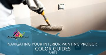 """The words """"Navigating your interior painting project: color guide part 2"""" is overlaid on a picture of beige paint being spread on the wall"""