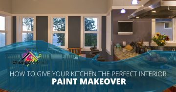 """How to give your kitchen the perfect interior paint makeover"" over a picture of a dining room and kitchen"