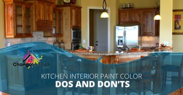 """Kitchen interior paint colors dos and don'ts"" overlaid across the top of a kitchen"
