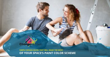"""Simple design hacks that will make the most of your space's paint color scheme"" overlaid on a picture of a couple in the middle of a painting project."