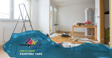 """How to choose painter's tape"" overlaid across a picture of a residential painting project underway"