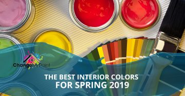 """The best interior colors for spring 2019"" is overlaid across a picture of paint chips and buckets of paint"