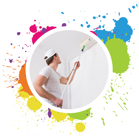 A painting contractor paints with a roller on a ceiling