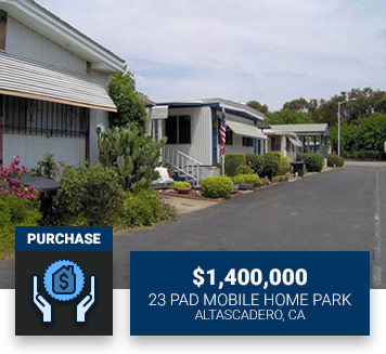 $1,400,00023 Pad Mobile Home ParkAltascadero, CAPurchase