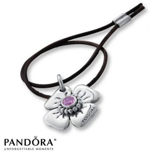 Daisy Clasp Opener, Pink CZ & Black Leather