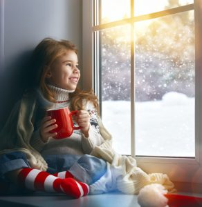 girl with cocoa in winter