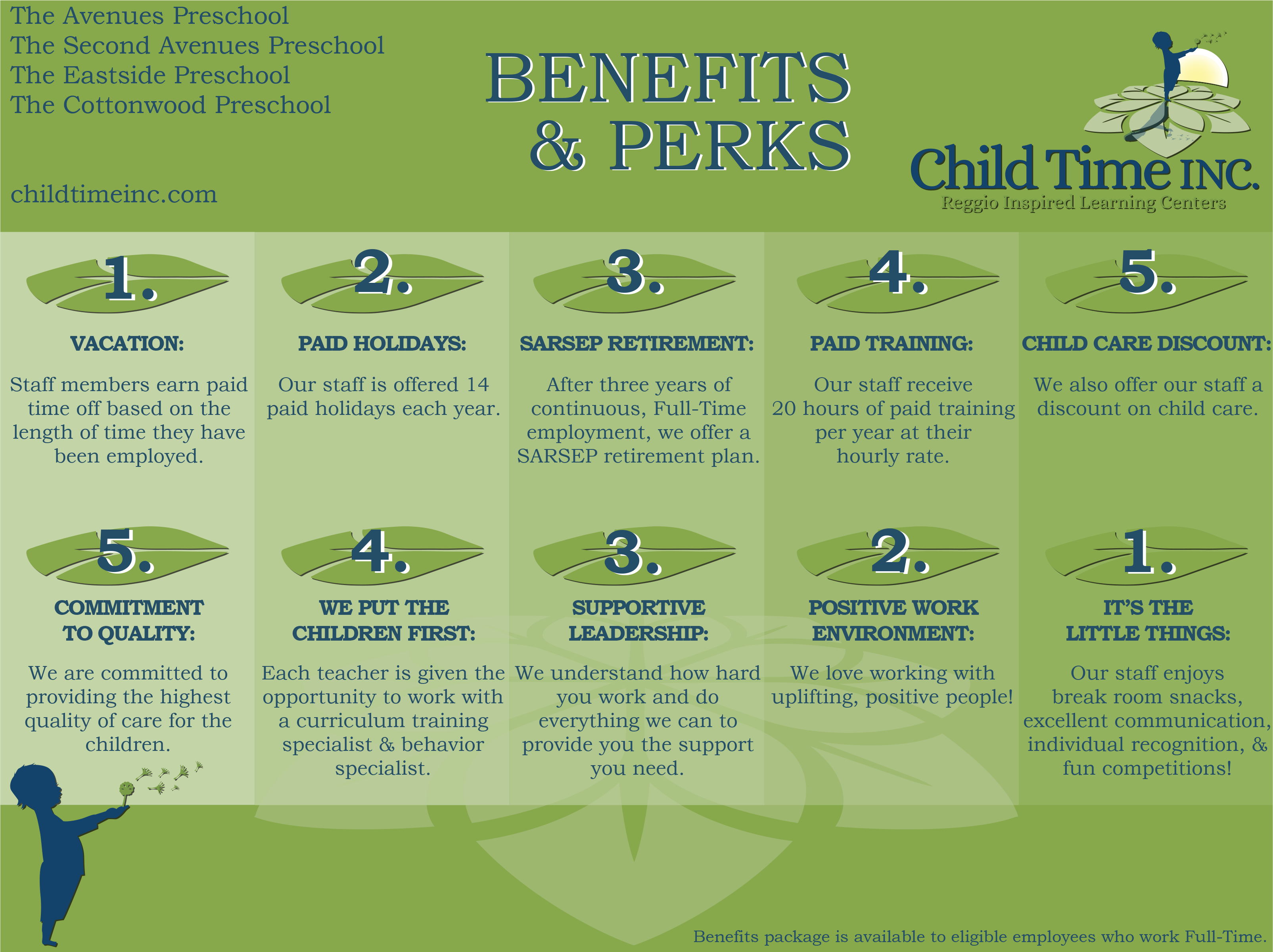 Child Time Employee Benefits and Perks Flyer