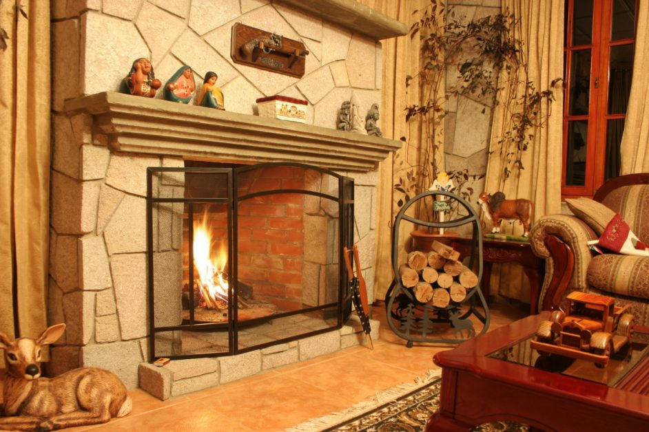 Cozy Fireplace With Fire Lit