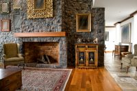 Elegant Stone Fireplace in Living Room
