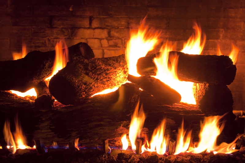 Closeup of Fireplace Logs on Fire