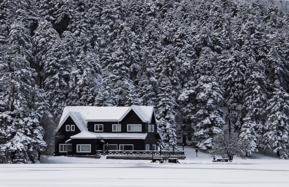 Winter Home on a Frozen Lake