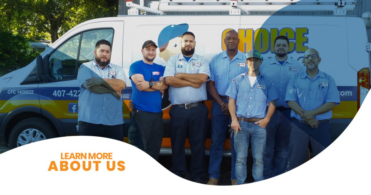 An image showing seven Orlando plumbers from Choice Plumbing posing in front of the branded company van.