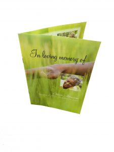 four page funeral programs are printed on 8 x 11 high quality paper
