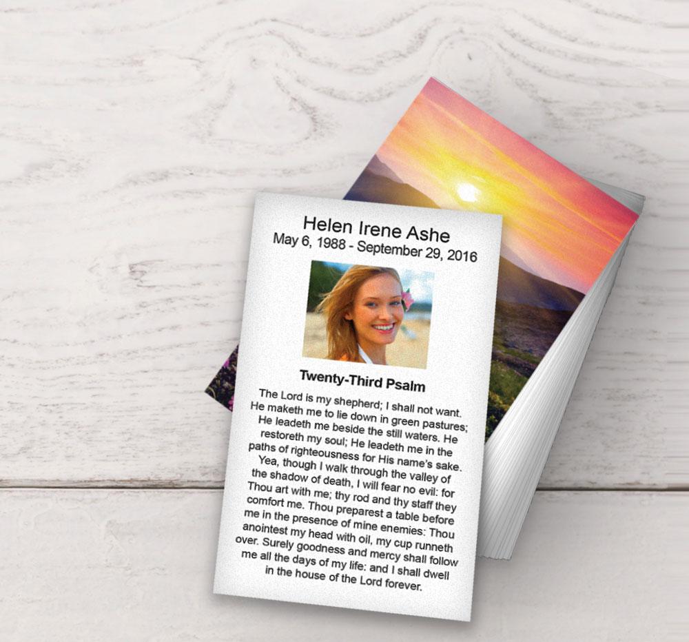 prayer card with Twenty-Third Psalm