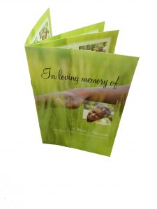 eight page funeral programs are printed in full color on high quality paper