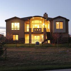Custom Home Exterior at Dusk
