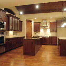 Modern Kitchen With Dark Wood Cabinetry
