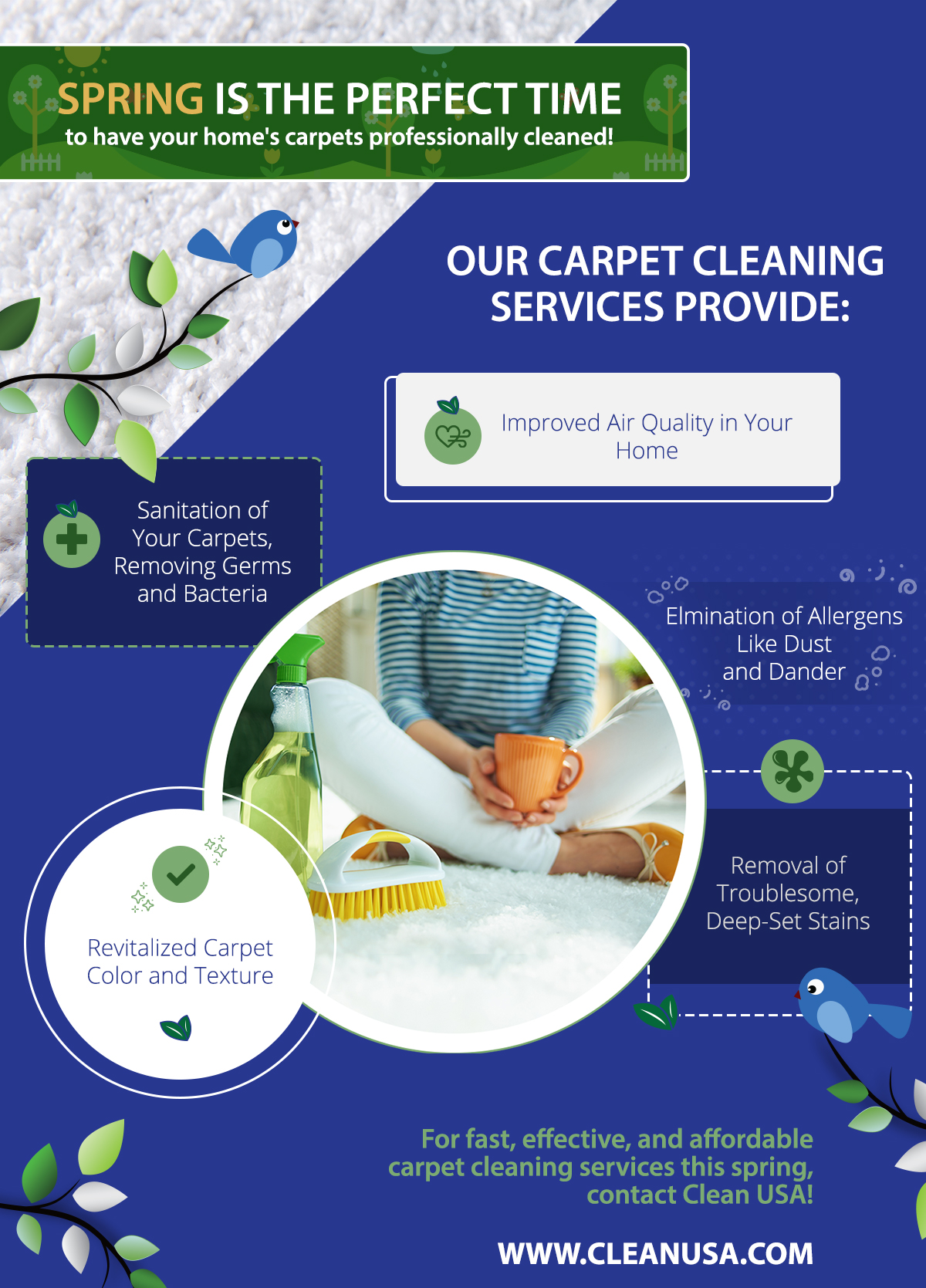 Infographic about what our carpet cleaning services provide to you