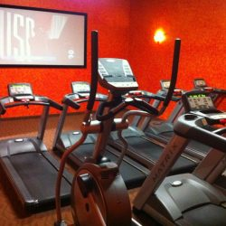 Club Metro USA treadmill room with TV