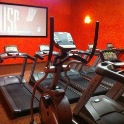 Club Metro USA treadmill room with TV