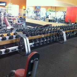 Club Metro USA rack of free weights
