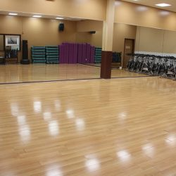 Club Metro USA wood floor and mirrors