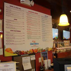 Club Metro USA cafe menu