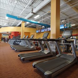 Club Metro USA rows of treadmills and other exercise equipment angled view