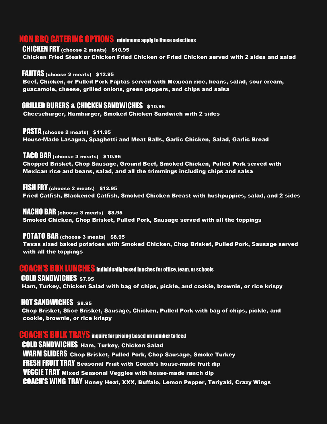 Coach's Smoke Catering Menu Page 1